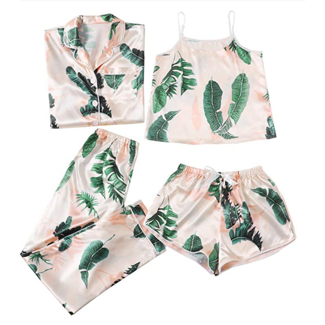 WDIRARA Women's Sleepwear 4pcs Satin Cami with Shirt Pajama Set